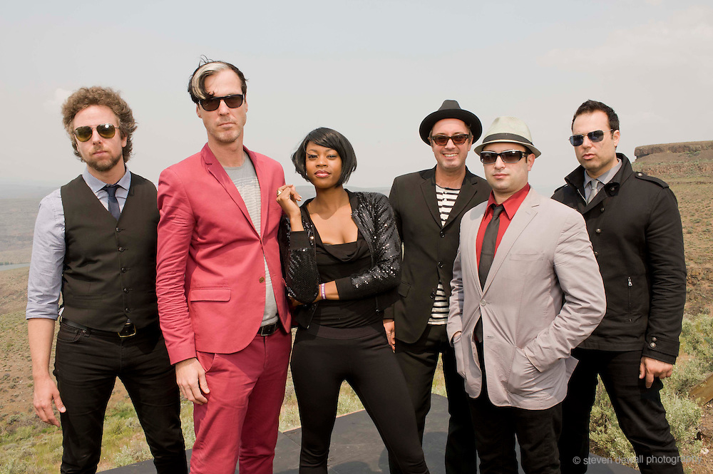 George, WA. - May 29th, 2011 Fitz & the Tantrums pose for a portrait backstage at the Sasquatch Music Festival in George, WA. United States