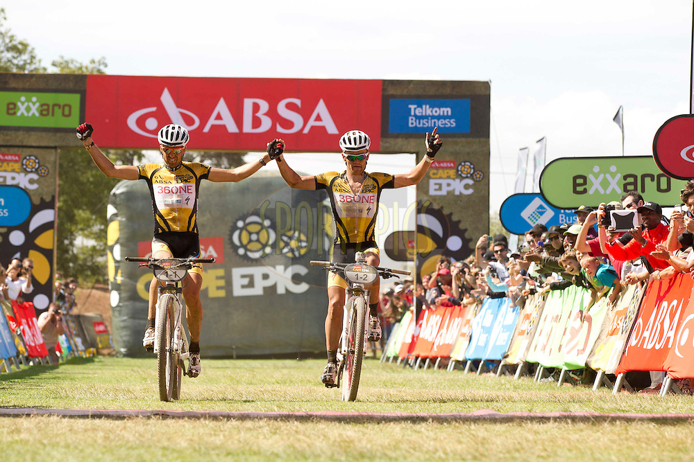CALEDON, 29 March 2012 - Christoph Sauser and Burry Stander of Songo-36One-Specialized win stage 4 of the 2012 Absa Cape Epic Mountain Bike stage race held at the Overberg Primary & High School in Caledon, South Africa on the 29 March 2012..Photo by Gary Perkin/Cape Epic/SPORTZPICS