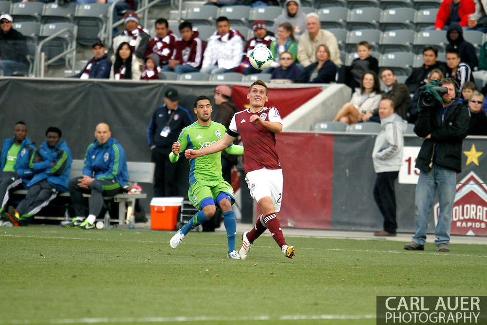 April 20th, 2013 Commerce City, CO - Colorado Rapids midfielder Shane O'Neill (27) eyes the ball during the second half of action in the MLS match between the Seattle Sounders FC and the Colorado Rapids at Dick's Sporting Goods Park in Commerce City, CO