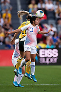 SYDNEY, AUSTRALIA - NOVEMBER 09: Yessenia López of Chile heads the ball during the International friendly soccer match between Matildas and Chile on November 09, 2019 at Bankwest Stadium in Sydney, Australia. (Photo by Speed Media/Icon Sportswire)