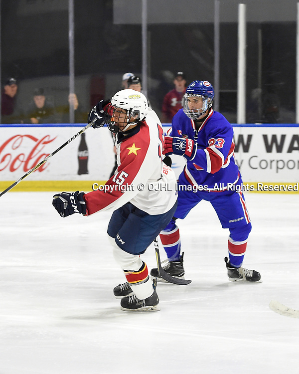 BUFFALO, NY - SEP 20,  2017: Ontario Junior Hockey League Governors Showcase game between the Toronto Jr. Canadiens and Wellington Dukes, Andrew Rinaldi #15 of the Wellington Dukes and Jordan Kreller #23 of the Toronto Jr. Canadiens pursue the play during the second period.<br /> (Photo by Andy Corneau / OJHL Images)