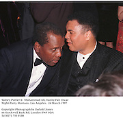 Sidney Poitier &  Muhammad Ali, Vanity Fair Oscar Night Party. Mortons. Los Angeles.  24 March 1997<br />