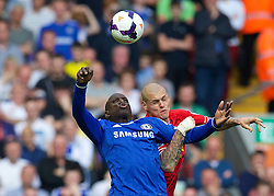 27.04.2014, Anfield, Liverpool, ENG, Premier League, FC Liverpool vs FC Chelsea, 36. Runde, im Bild Liverpool's Martin Skrtel and Chelsea's Demba Ba // during the English Premier League 36th round match between Liverpool FC and Chelsea FC at Anfield in Liverpool, Great Britain on 2014/04/27. EXPA Pictures © 2014, PhotoCredit: EXPA/ Propagandaphoto/ David Rawcliffe<br /> <br /> *****ATTENTION - OUT of ENG, GBR*****