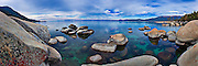 Rock formations on the shoreline of Lake Tahoe in the Nevada State Park