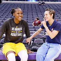08 August 2014: Los Angeles Sparks forward/center Sandrine Gruda (7) and Atlanta Dream guard Celine Dumerc (9) are seen prior to the Los Angeles Sparks 80-77 overtime win over the Atlanta Dream, at the Staples Center, Los Angeles, California, USA.
