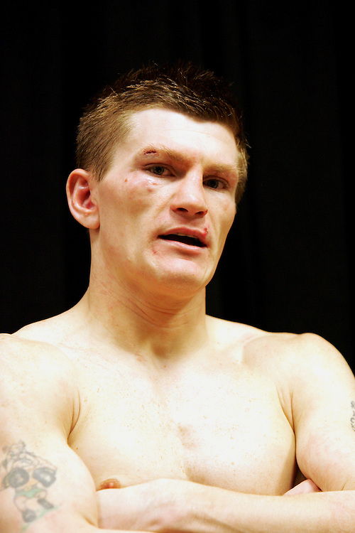Ricky Hatton reflects in the dressing room after losing by tenth round knockout. Ricky Hatton v Floyd Mayweather, Las Vegas, Nevada.