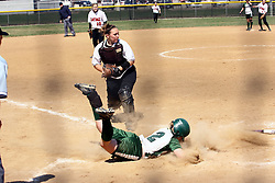 05 April 2008: Natalie Chase makes a sweeping slide around Jenny Burke to score. The Carthage College Lady Reds lost the first game of this double header to the Titans of Illinois Wesleyan 4-1 at Illinois Wesleyan in Bloomington, IL