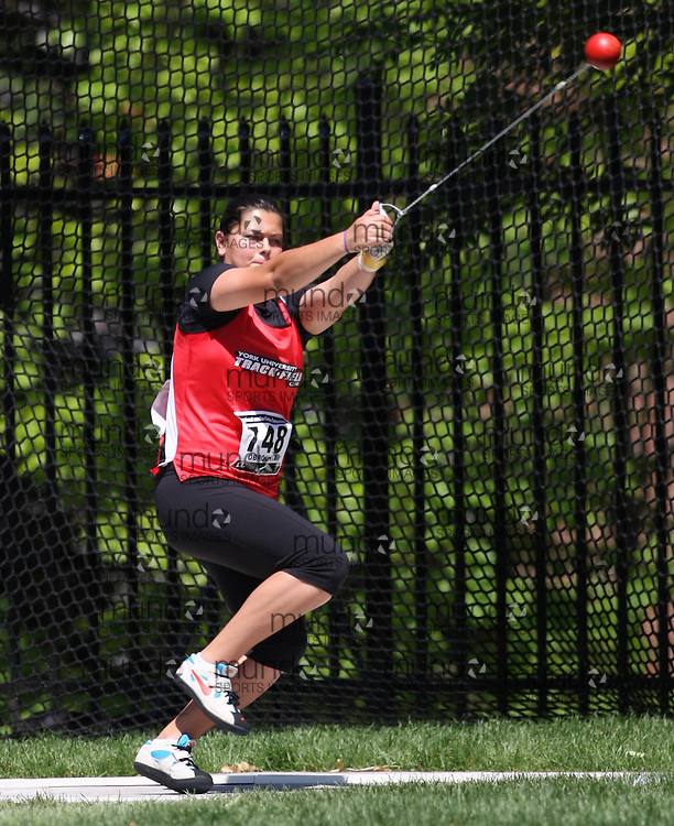 (Toronto, Ontario---27/06/09)   Kristin Obrochta competing in  women's hammer throw at the 2009 Canadian National Track and field Championships. Photograph copyright Sean Burges / Mundo Sport Images, 2009. www.mundosportimages.com / www.msievents.