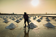"""28 MARCH 2014 - NA KHOK, SAMUT SAKHON, THAILAND: A salt farm manager marks piles of salt in an evaporation pond in Samut Sakhon province. Thai salt farmers south of Bangkok are experiencing a better than usual year this year because of the drought gripping Thailand. Some salt farmers say they could get an extra month of salt collection out of their fields because it has rained so little through the current dry season. Salt is normally collected from late February through May. Fields are flooded with sea water and salt is collected as the water evaporates. Last year, the salt season was shortened by more than a month because of unseasonable rains. The Thai government has warned farmers and consumers that 2014 may be a record dry year because an expected """"El Nino"""" weather pattern will block rain in mainland Southeast Asia. Salt has traditionally been harvested in tidal basins along the coast southwest of Bangkok but industrial development in the area has reduced the amount of land available for commercial salt production and now salt is mainly harvested in a small parts of Samut Songkhram and Samut Sakhon provinces.    PHOTO BY JACK KURTZ"""