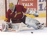 Ferris State goaltender Pat Nagle deflects away a shot during Saturday nights game against Lake Superior State at Taffy Abel Arena in Sault Ste. Marie.