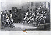 French Revolution: The Coup d'etat of 18 Brumaire (9 November 1799). Napoleon Bonparte (1769-1821) overthrew the Directoire and became First Consul . Engraving.