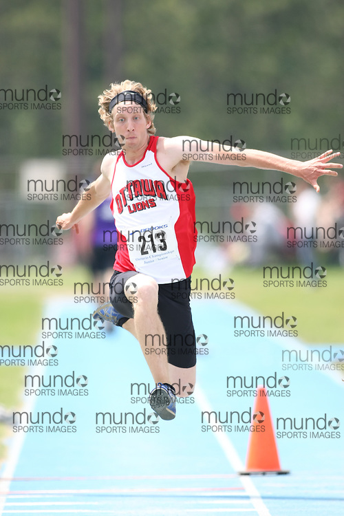 "(Ottawa, Ontario---20080622) ""Goetz, Jason of ON - Ottawa Lions T&F Club"" competing in the Ontario,track and field,athletics,Supermeet I,OTFA at Supermeet I, the 2008 Ontario Track and Field Association (OTFA) Junior/Senior Track and Field Championships. This image is copyright Sean W. Burges, and the photographer can be contacted at seanburges@yahoo.com."
