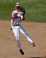 Georgia's second basemen Matthew Dunn fires the ball to first base in the seventh inning against Oregon State.  Oregon State eliminated Georgia with a 5-3 win at the College World Series at Rosenblatt Stadium in Omaha, Nebraska, June 19, 2006.