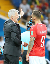 ROSTOV-ON-DON, June 17, 2018  Switzerland's head coach Vladimir Petkovic (L) talks with Haris Seferovic during a group E match between Brazil and Switzerland at the 2018 FIFA World Cup in Rostov-on-Don, Russia, June 17, 2018. (Credit Image: © Li Ming/Xinhua via ZUMA Wire)