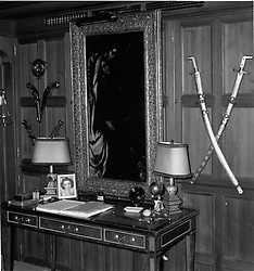 Interior shots of Aristotle Onassis's yacht Christina photographed in 1956.<br /> Picture shows Mr Onassis' study which contains a collection of El Greco's one of which - The Annunciation is visable.  The swords are solid gold and were a gift from the King of Saudi Arabia.<br /> <br /> <br /> NON EXCLUSIVE - WORLD RIGHTS