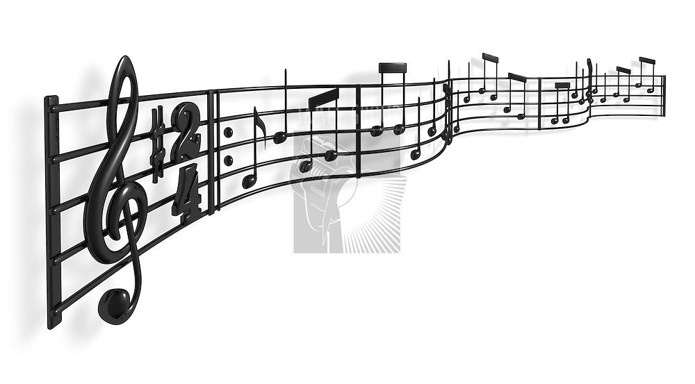 A musical score waving and bending towards the camera