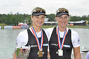 Munich, GERMANY, NZL W2-, Bow Juliette HAIGH and Rebecca SCOWN, Gold Medalist Women's pair.  2010 FISA World Cup. Munich Olympic Rowing Course, Sunday  20/06/2010   [Mandatory Credit Peter Spurrier/ Intersport Images]