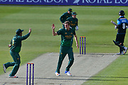 Jake Ball celebrates the wicket of Tom Kohler-Cadmore  during the Royal London 1 Day Cup match between Worcestershire County Cricket Club and Nottinghamshire County Cricket Club at New Road, Worcester, United Kingdom on 27 April 2017. Photo by Simon Trafford.