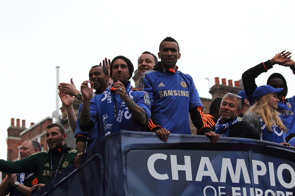 Chelsea team bus at the Champions League victory parade through Parsons Green, May 20th 2012