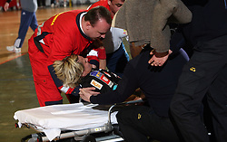 Anja Freser injured at handball game ZRK Celje Celjske Mesnine vs RK Krim Mercator in final match of Slovenian Handball Cup,  on April 6, 2008 in Arena Golovec, Celje, Slovenia. Krim won the game 31:21 and became Cup Winner.  (Photo by Vid Ponikvar / Sportal Images)
