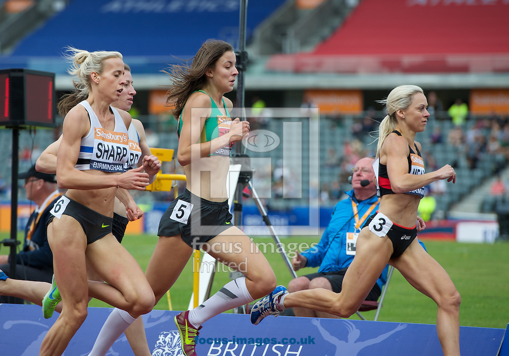 Lynsey Sharp Jessica Judd and Jenny Meadows lead the field in the womens 800m final during the Sainsburys British Championships at Alexander Stadium, Birmingham<br /> Picture by Alan Stanford/Focus Images Ltd +44 7915 056117<br /> 29/06/2014