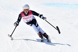 HALL Adam LW1 NZL competing in ParaSkiAlpin, Para Alpine Skiing, Super G at PyeongChang2018 Winter Paralympic Games, South Korea.