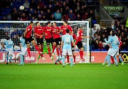 Hull City's Sone Aluko hits the bar with his free kick - Photo mandatory by-line: Joe Meredith/JMP  - Tel: Mobile:07966 386802 10/11/2012 - SPORT - FOOTBALL - Championship   -   Cardiff  -  New Cardiff City Stadium  -  Cardiff City v Hull City