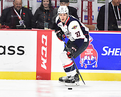 Graham Knott of the Windsor Spitfires in Game 3 of the 2017 MasterCard Memorial Cup against the Seattle Thunderbirds on Sunday May 21, 2017 at the WFCU Centre in Windsor, ON. Photo by Aaron Bell/CHL Images