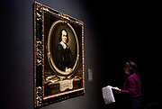 UNITED KINGDOM, London: 27 February 2018 A visitor takes a close look at Bartolomé Esteban Murillo's 'Self Portrait' (about 1670) at the new exhibition entitled 'Murillo: The Self Portraits' at The National Gallery in London this morning. <br /> The exhibition marks the 400th anniversary of one of the most celebrated Spanish artists. <br /> Rick Findler  / Story Picture Agency