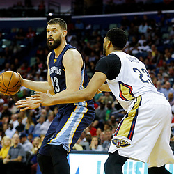 Mar 21, 2017; New Orleans, LA, USA; Memphis Grizzlies center Marc Gasol (33) is defended by New Orleans Pelicans forward Anthony Davis (23) during the second quarter of a game at the Smoothie King Center. Mandatory Credit: Derick E. Hingle-USA TODAY Sports
