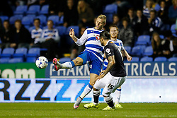 Reading's Pavel Pogrebnyakpasses under pressure from Derby County's Bradley Johnson - Mandatory by-line: Jason Brown/JMP - Mobile 07966 386802 15/09/2015 - SPORT - FOOTBALL - Reading, Madejski Stadium - Reading v Derby County - Sky Bet Championship