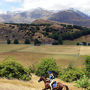 Judy Stalker riding Ultrimus in action during the Cross Country event at the Wakatipu One Day Horse Trials at the Pony Club grounds,  Queenstown, Otago, New Zealand. 15th January 2012. Photo Tim Clayton