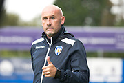 Colchester United manager John McGreal during the EFL Sky Bet League 2 match between Macclesfield Town and Colchester United at Moss Rose, Macclesfield, United Kingdom on 28 September 2019.