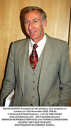 DAVID HEMERY President of UK athletics, at a reception in London on 10th November 2003.POI 85