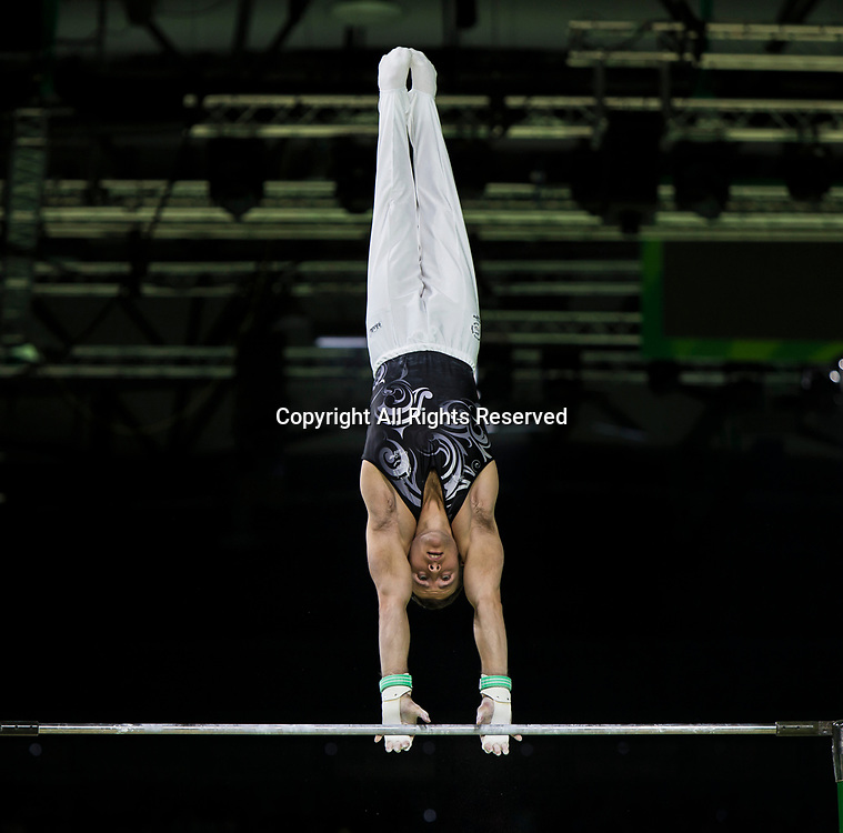 7th April 2018, Coomera Indoor Sports Centre, Gold Coast, Australia; Commonwealth Games day 3; Mikhail Koudinov (NZL) during the Men's Individual All-Round Artistic Gymnastics Final