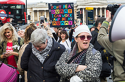 "London, October 31 2017. Working mothers' rights group Pregnant Then Screwed holds a March of the Mummies demonstration, marching from Trafalgar Square to Parliament Square, demanding ""recognition, respect and change for working mums"". © Paul Davey"