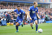 Birmingham City  midfielder David Davis (26)  overlaps Birmingham City  defender Jonathan Spector (23) down the right wing during the EFL Sky Bet Championship match between Birmingham City and Aston Villa at St Andrews, Birmingham, England on 30 October 2016. Photo by Simon Davies.