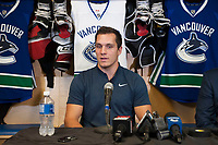 PENTICTON, CANADA - SEPTEMBER 8: Bo Horvat of the Vancouver Canucks addressed the media at a press conference to announce a 6 year contract extension for Horvat on September 8, 2017 at the South Okanagan Event Centre in Penticton, British Columbia, Canada.  (Photo by Marissa Baecker/Shoot the Breeze)  *** Local Caption ***