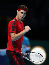 Dominic Thiem reacts during his singles match against Grigor Dimitrov during day two of the NITTO ATP World Tour Finals at the O2 Arena, London. PRESS ASSOCIATION Photo. Picture date: Monday November 13, 2017. Photo credit should read: John Walton/PA Wire. RESTRICTIONS: Editorial use only, No commercial use without prior permission