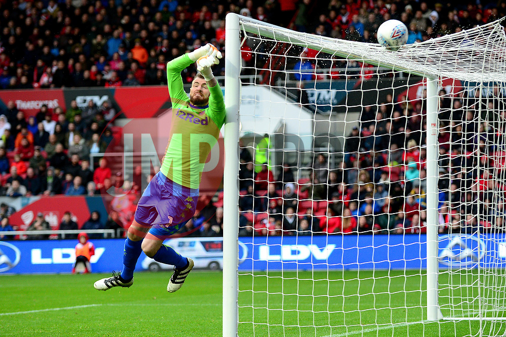 Andy Lonergan of Leeds United makes a save - Mandatory by-line: Dougie Allward/JMP - 21/10/2017 - FOOTBALL - Ashton Gate Stadium - Bristol, England - Bristol City v Leeds United - Sky Bet Championship