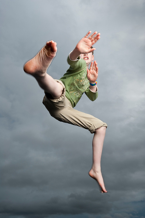 Young boy in mid air, Scotland