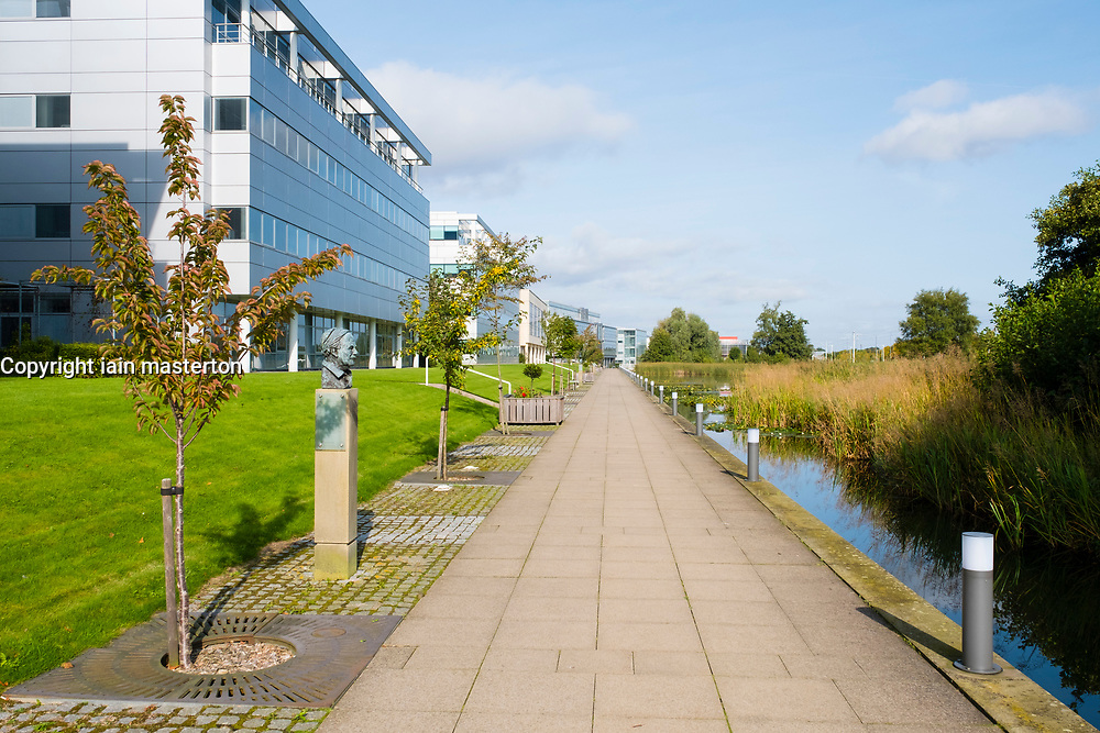 Modern office buildings and landscaped park  at Edinburgh Park a modern business park at South Gyle in Edinburgh, Scotland, United Kingdom.
