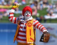 March 12, 2017 - Surprise, AZ, USA - Ronald McDonald throws out the first pitch before a spring training baseball game between the Kansas City Royals and Los Angeles Dodgers on Sunday, March 12, 2017 in Surprise, Ariz. (Credit Image: © John Sleezer/TNS via ZUMA Wire)