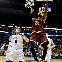 Dec 12, 2014; New Orleans, LA, USA; Cleveland Cavaliers forward LeBron James (23) shoots over New Orleans Pelicans forward Luke Babbitt (8) during the first half of a game at the Smoothie King Center. Mandatory Credit: Derick E. Hingle-USA TODAY Sports