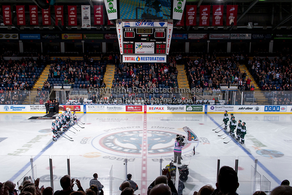 KELOWNA, CANADA - FEBRUARY 2: The Kelowna Rockets line up against the Everett Silvertips  on FEBRUARY 2, 2018 at Prospera Place in Kelowna, British Columbia, Canada.  (Photo by Marissa Baecker/Shoot the Breeze)  *** Local Caption ***