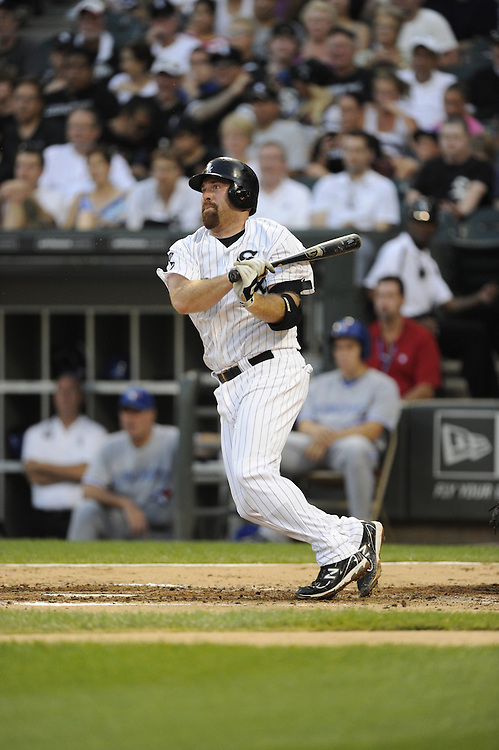 CHICAGO - JULY 06:  Kevin Youkilis #20 of the Chicago White Sox bats against the Toronto Blue Jays on July 6, 2012 at U.S. Cellular Field in Chicago, Illinois.  The White Sox defeated the Blue Jays 4-2.  (Photo by Ron Vesely)  Subject:  Kevin Youkilis
