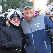 NEW YORK -- USS Hu&eacute; City (CG 66) Command Master Chief Teri Zehnacker of Decatur, Ill. poses with Jim Wagner of Chicago, a Marine who served at the Battle of Hu&eacute; City, for which the ship is named, before the 2017 Veterans Day parade.  The ship is in port participating in Veterans Week New York City 2017 to honor the service of all our nation&rsquo;s veterans. <br /> Wagner joined the ship's crew for a short &quot;tiger&quot; cruise from Florida to New York this week. <br />  #USNavy, #NavyInNYC, #VeteransDay, #USNavy, #VeteransDay #NeverForget (U.S. Navy photo by Chief Mass Communication Specialist Roger S. Duncan/ Released)