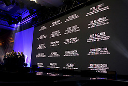 People who have passed away in the last year are displayed on the big screen during the Professional Footballers' Association Awards 2017 at the Grosvenor House Hotel, London
