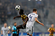 STOCKHOLM, SWEDEN - MARCH 12: Alhassan Kamara of BK Hacken and Jacob Une Larsson of Djurgardens IF competes for the ball during the Swedish Cup Quarterfinal between Djurgardens IF and BK Hacken at Tele2 Arena on March 12, 2018 in Stockholm, Sweden. Photo by Nils Petter Nilsson/Ombrello<br /> ***BETALBILD***