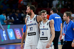 Sasa Zagorac of Slovenia and Goran Dragic of Slovenia celebrating after winning during the Final basketball match between National Teams  Slovenia and Serbia at Day 18 of the FIBA EuroBasket 2017 at Sinan Erdem Dome in Istanbul, Turkey on September 17, 2017. Photo by Vid Ponikvar / Sportida